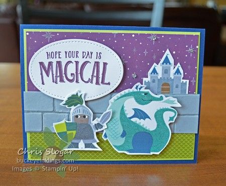 """In one week, I have used """"Magical Day"""" for two kids' birthdays. The kids? My 22-year-old daughter, in recognition of her long-time love of the Harry Potter series, and my 7-year-old nephew. My favorite detail is the wizard's crystal ball (Clear Faceted Gem). The Myths & Magic Specialty Designer Paper is sparkly, too, and there is also Glimmer Paper available in this suite! So fun! Here is the version I made for my nephew. I relied on the designer paper for my &qu..."""
