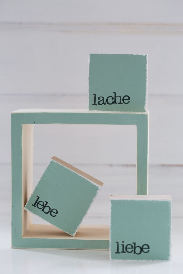 "Mini-Textplatte ""Lebe Liebe Lache"", handgestempelt / wooden cubes with typo ""live love laugh"", living decoration by iopla via DaWanda.com"
