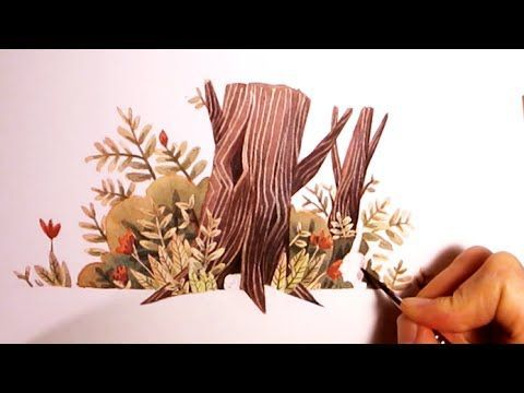 Nature Watercolor Illustration - testing and experimenting with my Masking fluid Pen by Iraville - YouTube