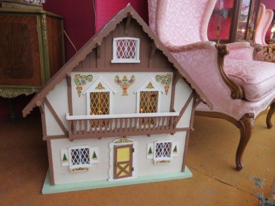 Sold Vintage Adorable Swiss Chalet Style Dollhouse