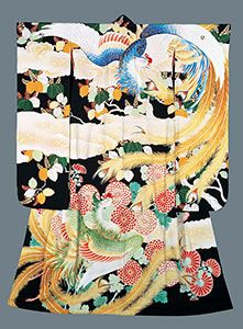 Yuzen kimono by National Living Treeasure of Japan, TABATA Kihachi (1877-1956) 田畑 喜八 人間国宝
