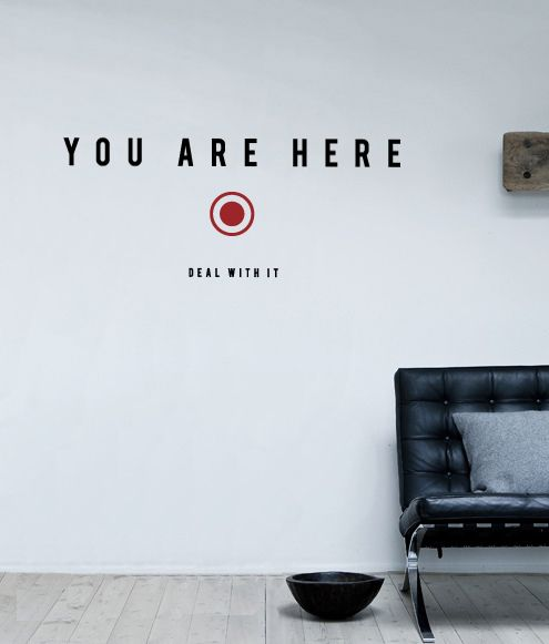 Your Are Here!  You Are Here sticker is the original wall art decal idea designed by Antoine Tesquier Tedeschi for Hu2 Design. This wall sticker is a quirky, decorative and eco-friendly way to spruce up your living room or any area of your interior.