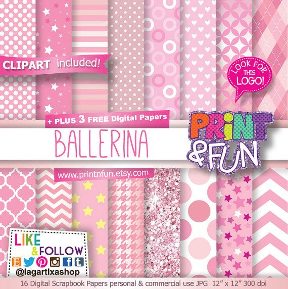 Pink Ballerina, Ballet digital paper, patterns, classic dance, ballet, papers,  glitter roses, for invitations party printables stars