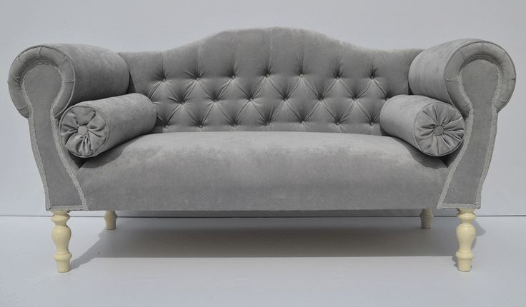 Double ended Chaise lounge/sofa in Silver velvet with plain buttons | Lounge sofa Chaise lounges and Velvet : velvet chaise settee - Sectionals, Sofas & Couches