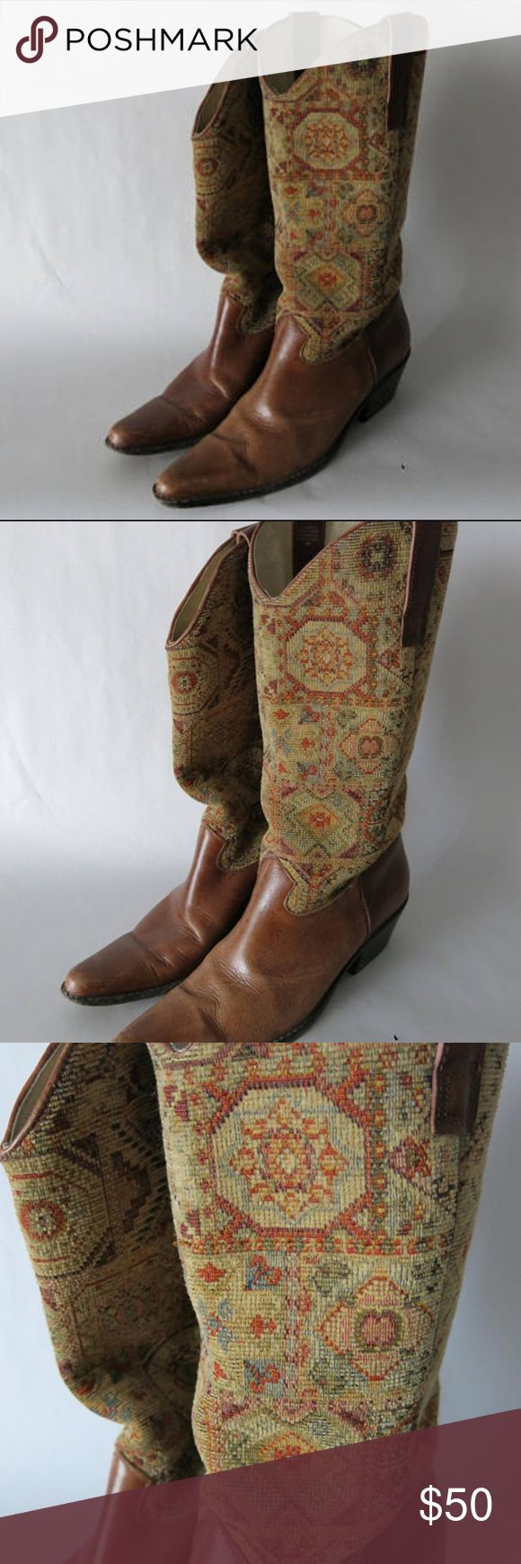 Matisse Tall Kilim Leather Boots Matisse Boots - Boho patterned upper, leather lower boots. Pointed toe, mid/low heel. Slightly worn but in fantastic shape! Can't post pics on foot because they're too small for me.  Size 8 women's (narrow) Matisse Shoes Heeled Boots