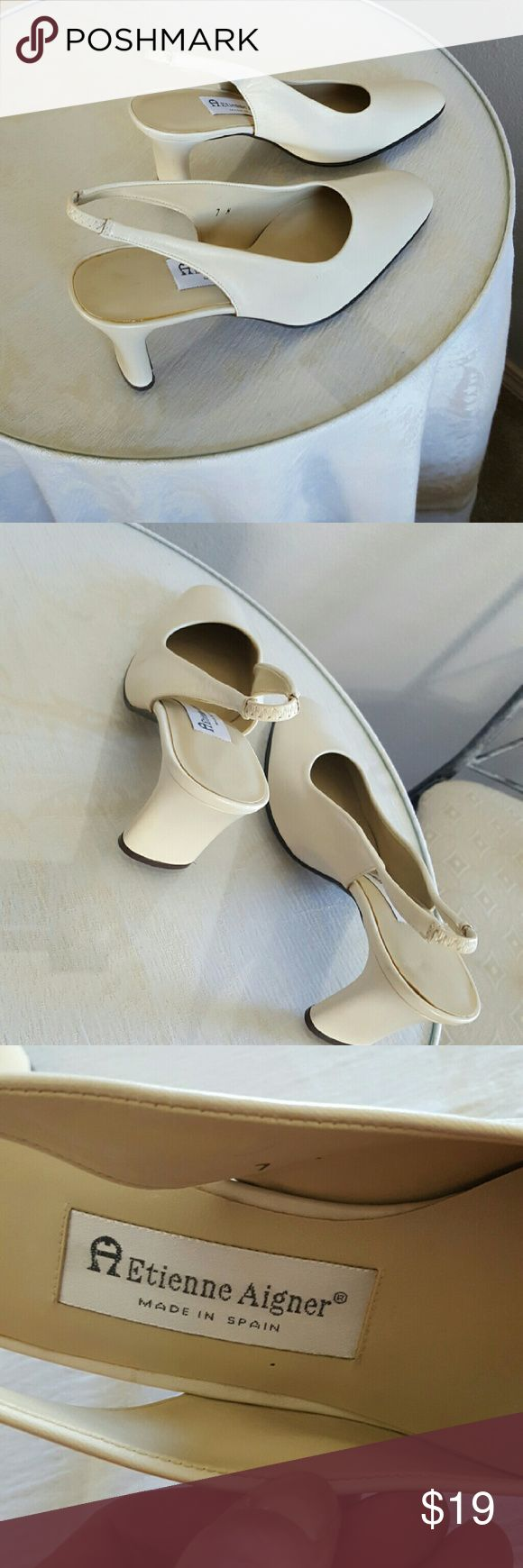 NEW! ETIENNE AIGNER LEATHER Cream Pumps 7M Made in Spain. Brand new, never worn. Excellent condition. Elastic piece on strap for comfort. Etienne Aigner Shoes Heels
