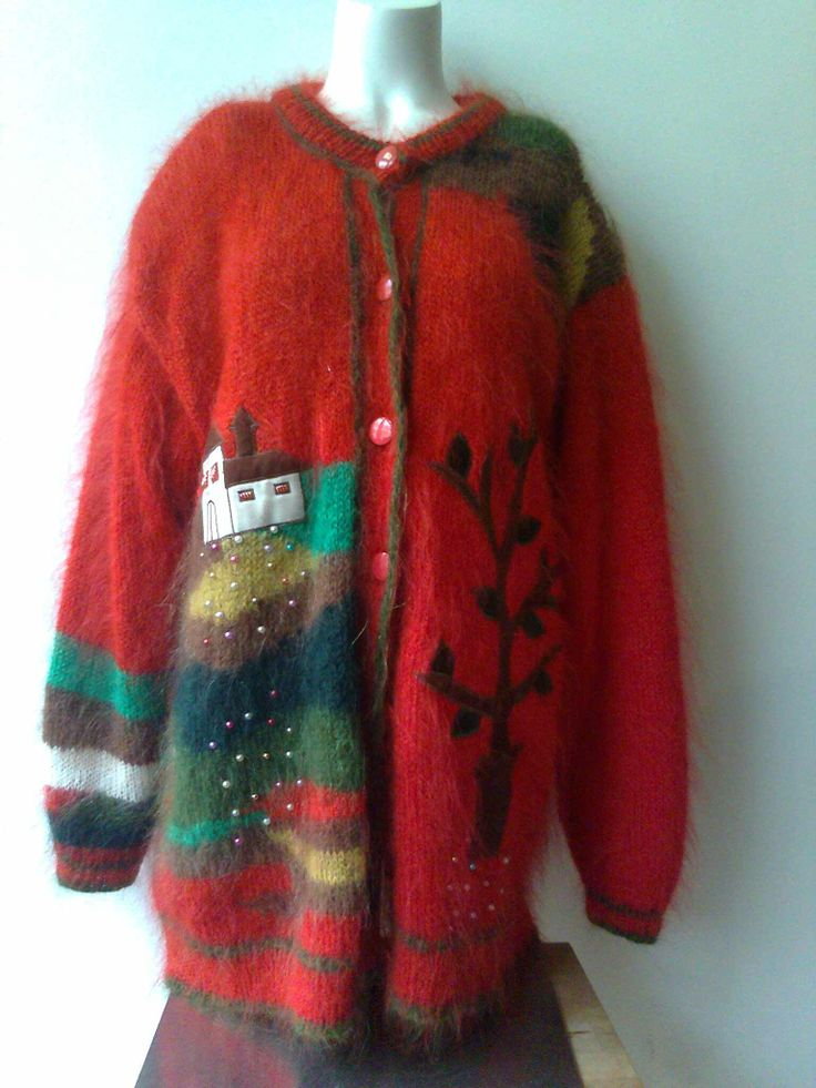 Beautiful embroidered long mohair cardigan with lining €59