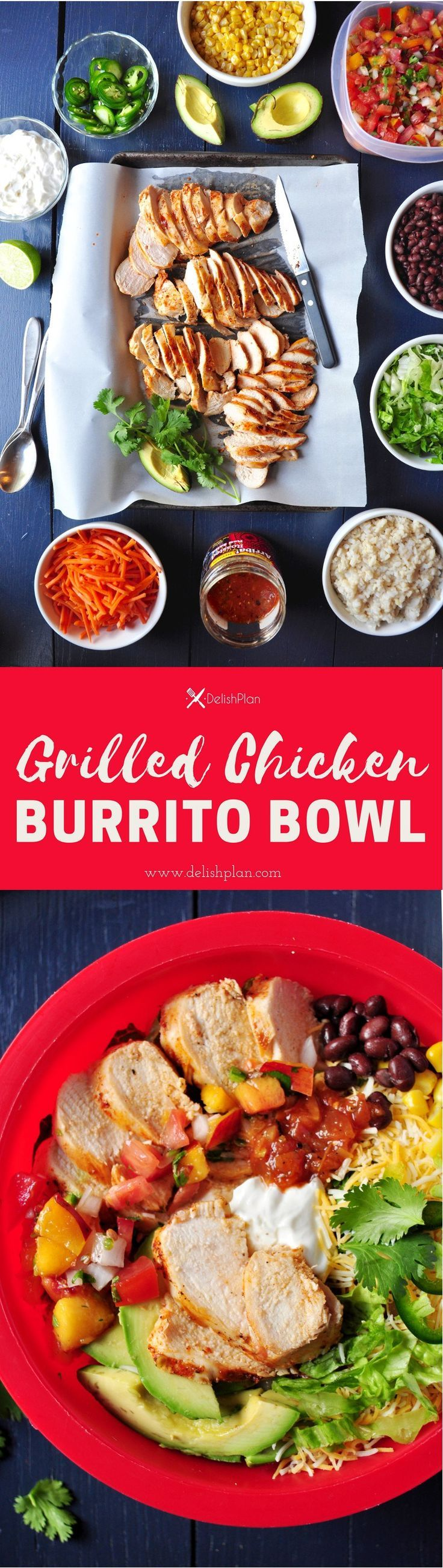 Assemble a healthy and delicious burrito bowl with these perfectly grilled juicy chicken breasts in just 30 minutes. Read more at http://www.delishplan.com/grilled-chicken-burrito-bowl/ �