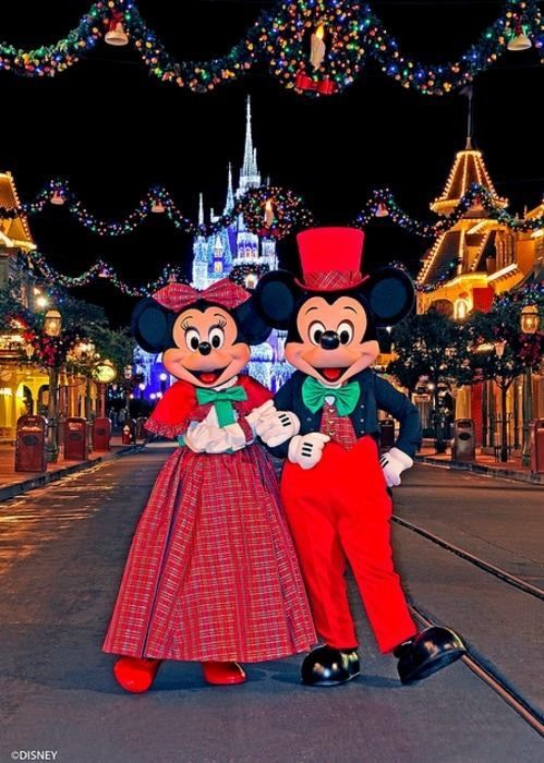 Mickey & Minnie in their holiday attire at Walt Disney World