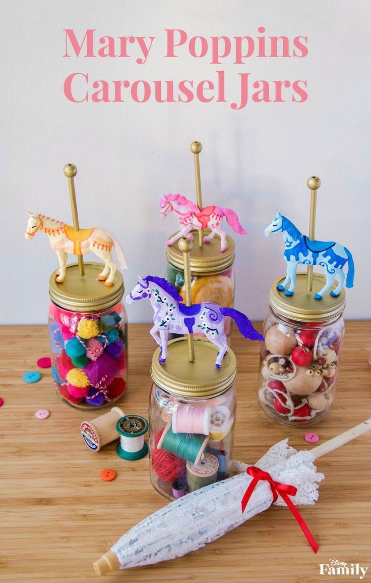 What better way to organize your little one's craft supplies than with a nod to Mary Poppins?! Simply decorate glass jars to look like the colorful, pastel merry-go-round. Then add their beads and baubles, and voila — a supercalifragilisticexpialidocious craft! These DIY Mary Poppins Carousel Jars are practically perfect in every way! Click for the Mary Poppins craft instructions.