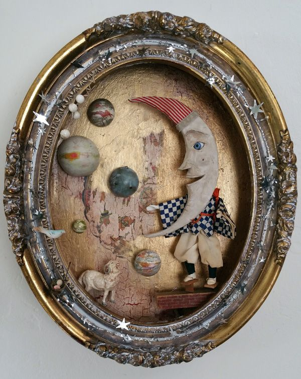 """Moon Man"" (acrylic paints, found objects, sculpted moon figurine, collage, 12×20) by Jenifer Renzel, honorable mention in the Cloth Paper Scissors Mixed Media Excellence Awards #assemblage #art"