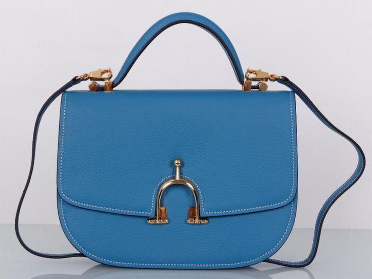 Сумка Hermes кожаная, новая модель из синей кожи. Размер 28х21х7см #19279