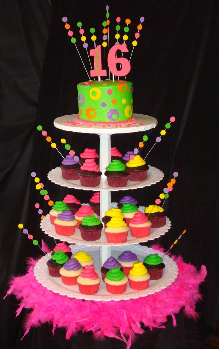 Sweet 16 Cupcakes | Neon Cupcake Tower | birthday cake ideas #sweet16