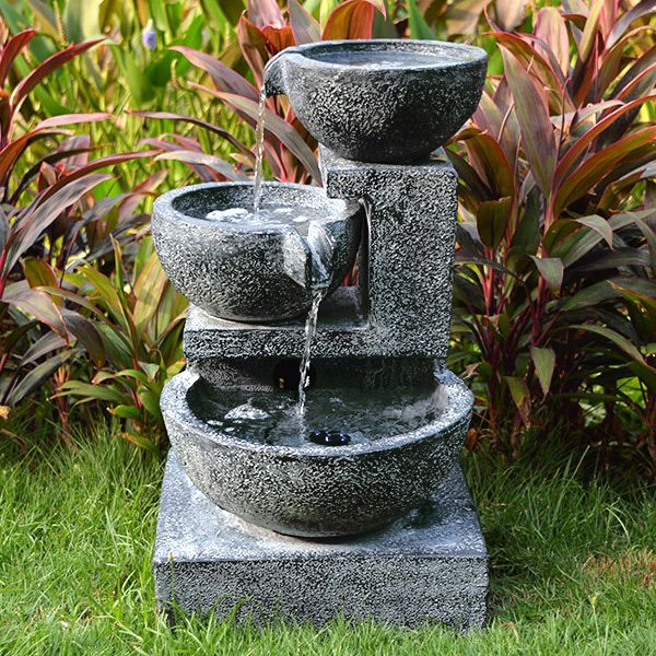 Granite Cascading Bowls Water Feature