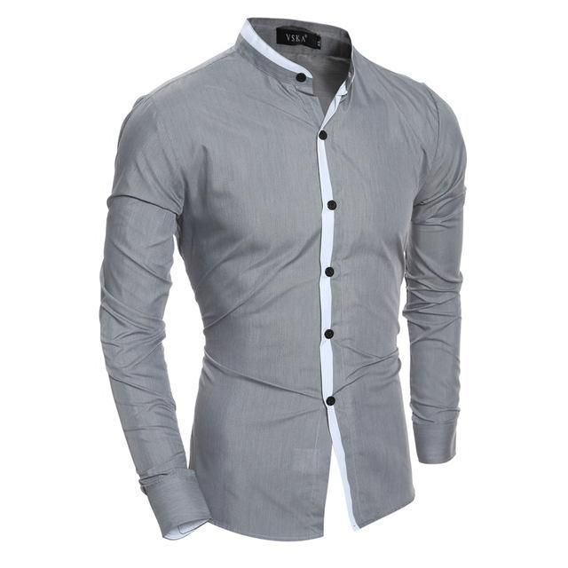 S-Fly Men Casual Cotton Banded Collar Patchwork Slim Fit Button Down Formal Simple Shirts Black XL