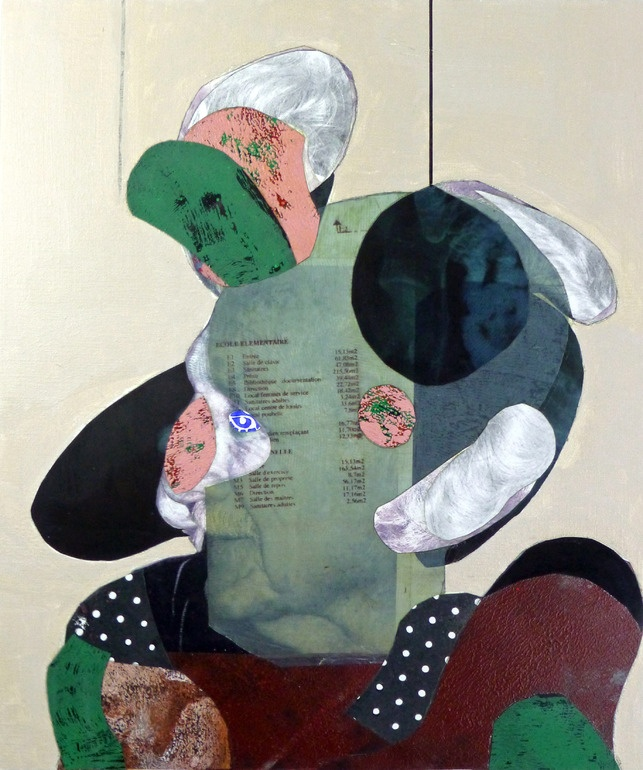 "pascal marlin; Assemblage / Collage, Mixed Media ""portrait d'un vieil homme"""