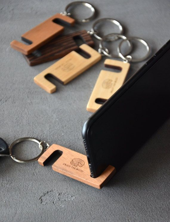 Custom Phone Stand Key Chain Personalized iPhone by EnjoyTheWood