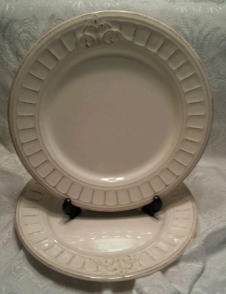 "2 Matceramica Venice Anitque Cream Dinner Plates 10 3/4"" - Made in Portugal Lot2 #Matceramica"