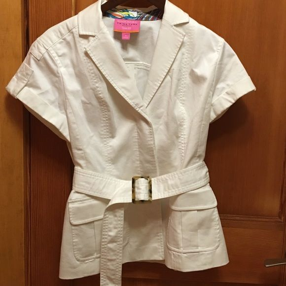 Banana Republic Jacket New with tags. Never worn. Very flattering, clean looking light jacket. Buttons are hidden when jacket is closed (3rd pic). Belt to give waist a nice cinched look. Make an offer! Banana Republic Tops