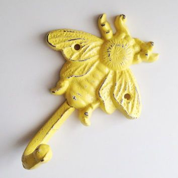 Yellow Bumble Bee Wall Hook, Cast Iron Bee, Bumble Bee Nursery Decor, Childrens Wall Hook, Yellow Decorative Key Hook, Bee Towel Hook