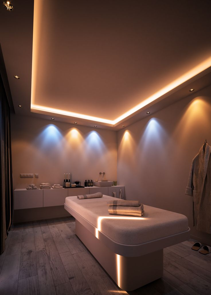 This was a project different designs and lighting moods for a spa treatment room. Home Spa Room, Spa Room Decor, Beauty Room Decor, Spa Rooms, Spa Interior Design, Spa Design, Spa Room Ideas Estheticians, Spa Hammam, Beauty Treatment Room