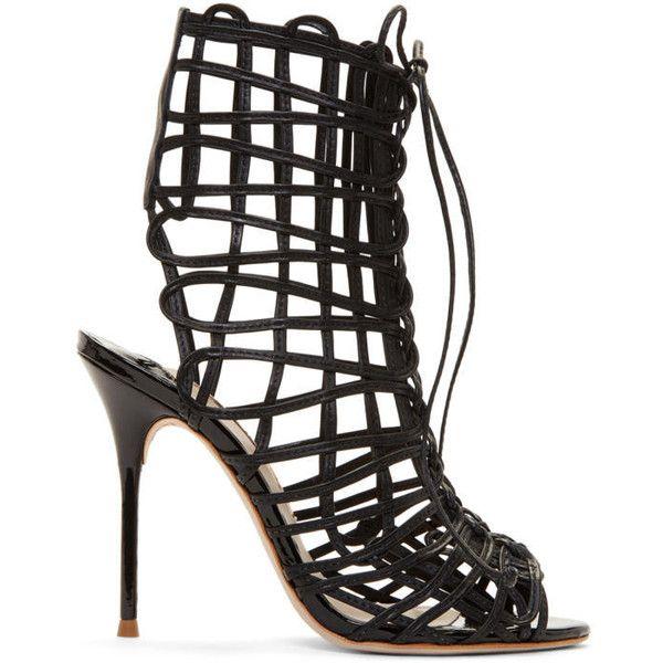 Sophia Webster Black Delphine Sandals (4.400 HRK) ❤ liked on Polyvore featuring shoes, sandals, black, black patent leather sandals, stiletto sandals, stilettos shoes, black stilettos and black braided sandals