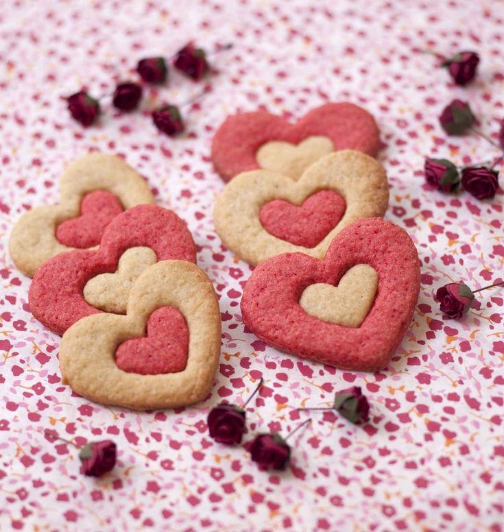 Biscuits sablés coeur 2 couleurs pour la Saint-Valentin - les meilleures recettes de cuisine d'Ôdélices