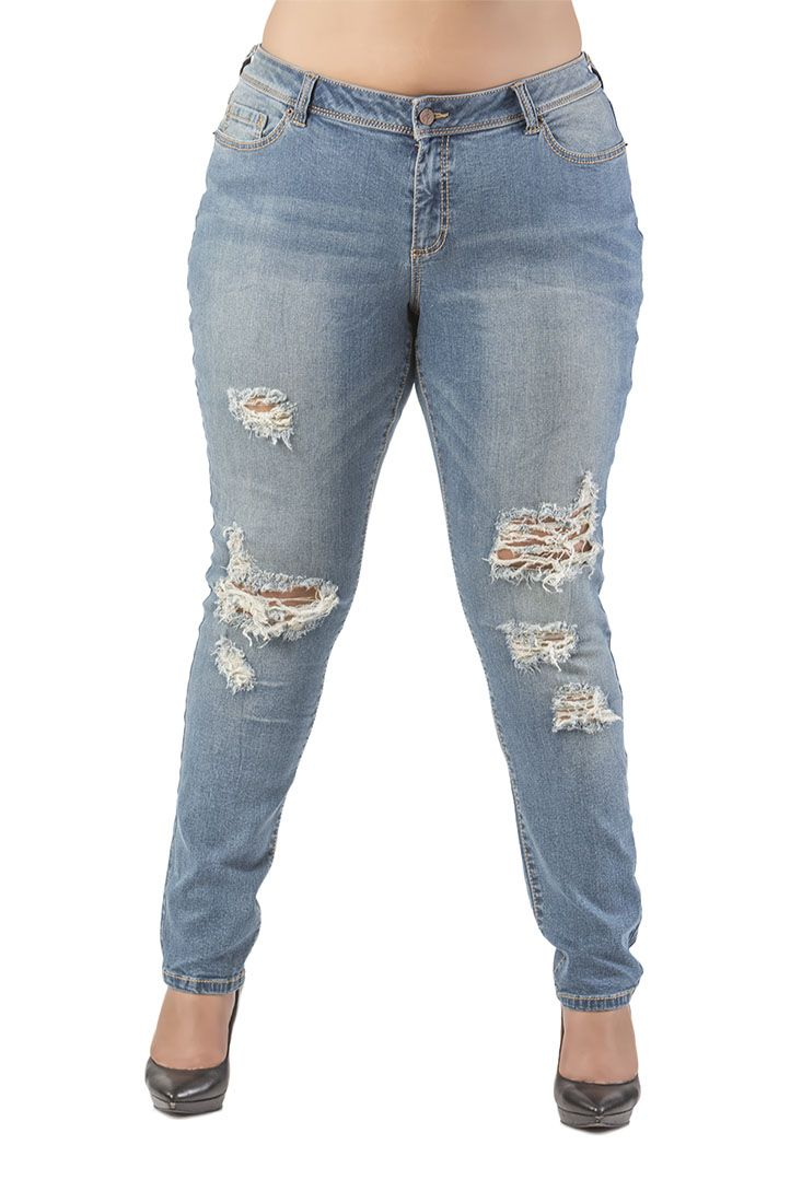 Plus Size Fashion - Plus Size Poetic Justice Maya Skinny Jeans (Vintage Wash) Midrise & Destroyed Denim Size Curvy Fit