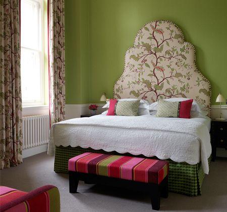 Gorgeous bedroom. Love the fabric headboard! Charlotte Street Hotel. London. Kit Kemp. -via Interior Canvas
