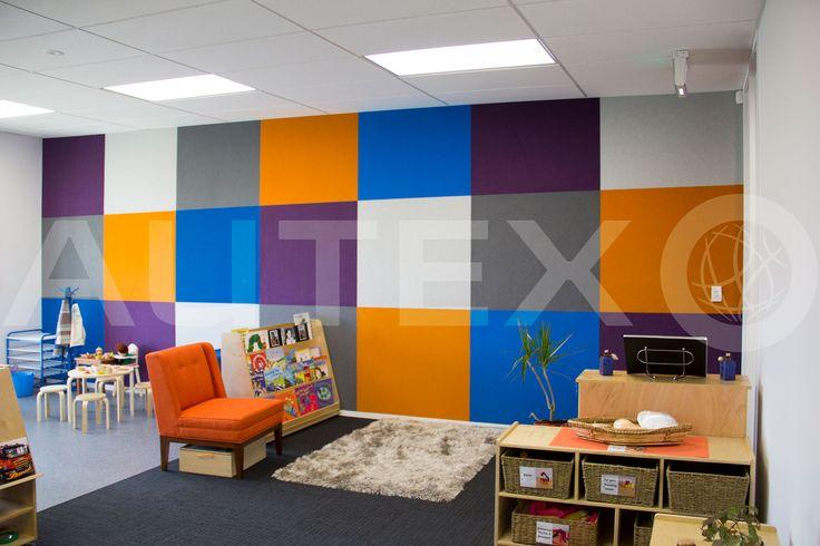 Autex Interior Acoustics - Composition® Peel'n'Stick - Natural Steps Childcare, Auckland, NZ - Colours: Phantom, Brilliant Orange, Electric Blue, Koala & Civic - Acoustics in Education