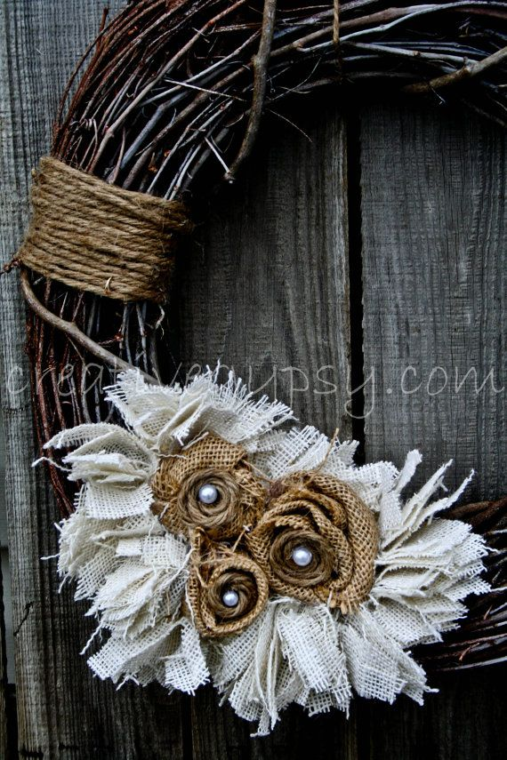 Rustic Burlap Jute Pearl Country Loving Wreath by TheCreativeGypsy.۞ Welcoming Wreaths ۞ DIY home decor wreath ideas - Rustic Burlap, Jute, Pearl Wreath