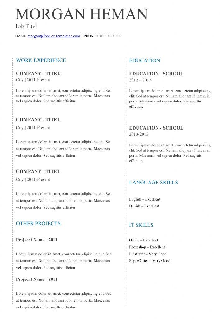 Cv Template Basic Andriblog Design In 2020 Resume Template Free Basic Cv Template Job Resume Template