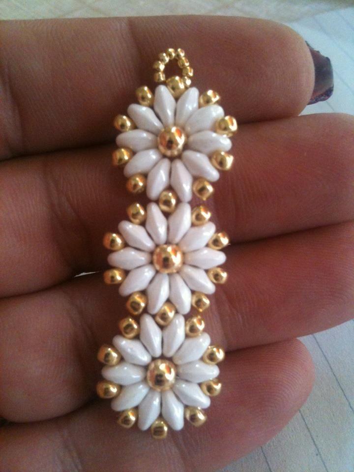 Twin bead daisy earrings