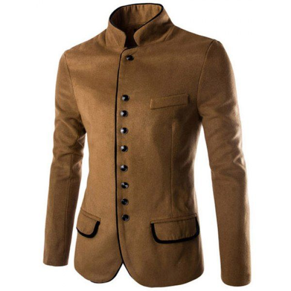 Single Breasted Color Block Edging Long Sleeve Woolen Blend Blazer