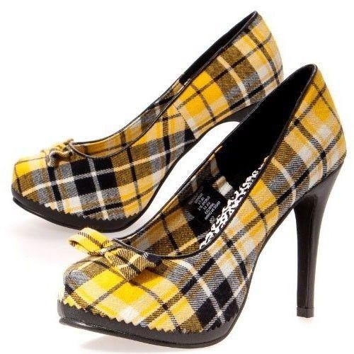 Less than $30!! Draven Peggy Yellow Plaid Pumps #Draven #PumpsClassics