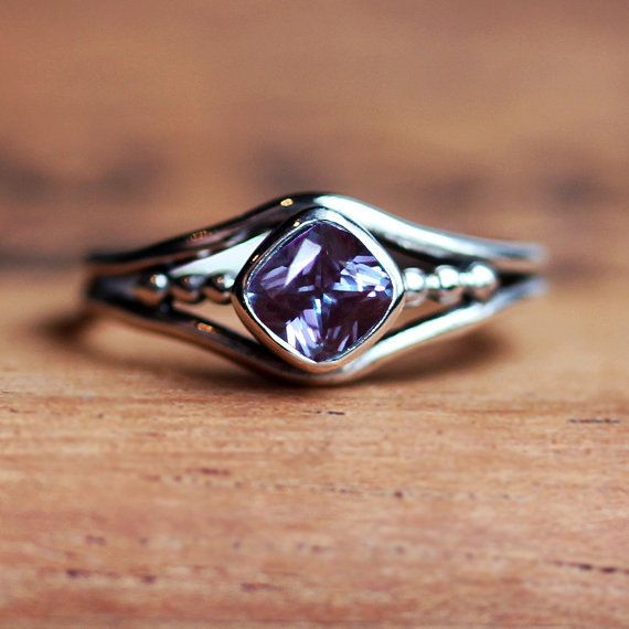 Alexandrite ring  color change gemstone ring  June by metalicious