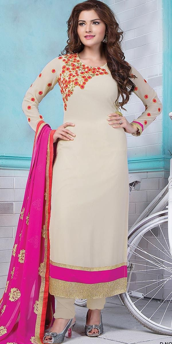Commendable Beige Georgette Straight Suit With Dupatta.
