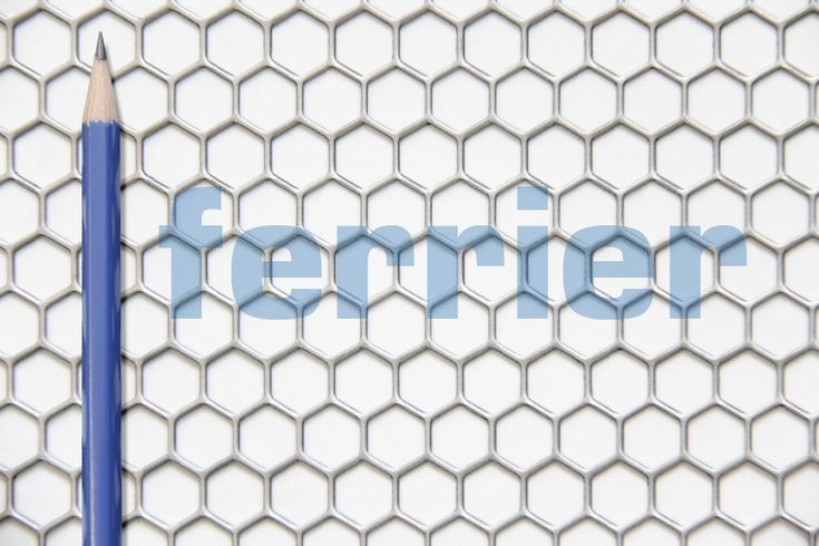 "Mild steel (unfinished) material, 1/4"" honeycomb pattern Ferrier Design perforated metal."