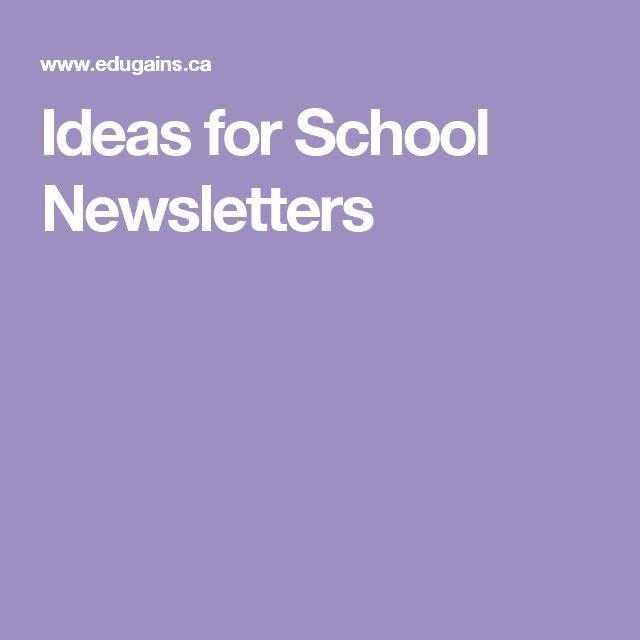 Ideas for School Newsletters