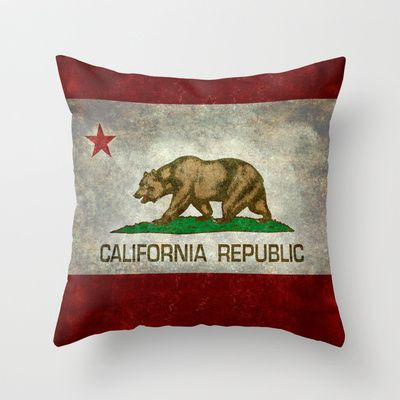 California Republic state flag Throw Pillow by Bruce Stanfield - $20.00