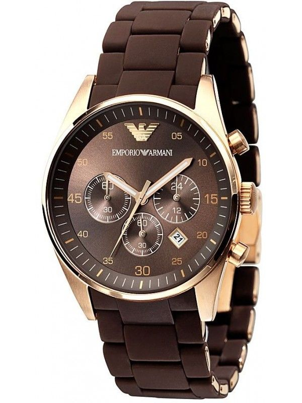 cf9a77ec599dc Emporio Armani Brown Dial Chronograph Mens Watch with Rosegold finish  AR5890 Elegance meets sport in this