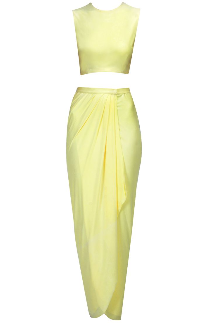 Yellow crop top and draped skirt set  BY PERNIA QURESHI. Shop the designer now at: www.perniaspopups... #perniaspopupshop #perniaqureshi #newcollection #softhues #stunning #fashion #amazing #style #campaign #fabulous #musthave #happyshopping
