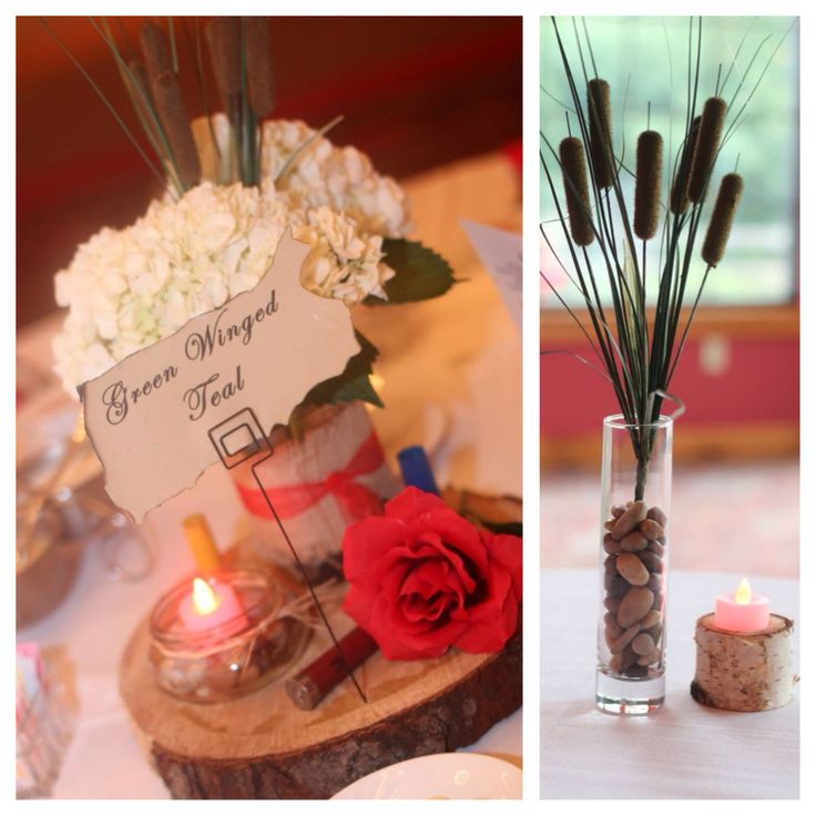 Table decoration Centerpiece on log with mason jars and
