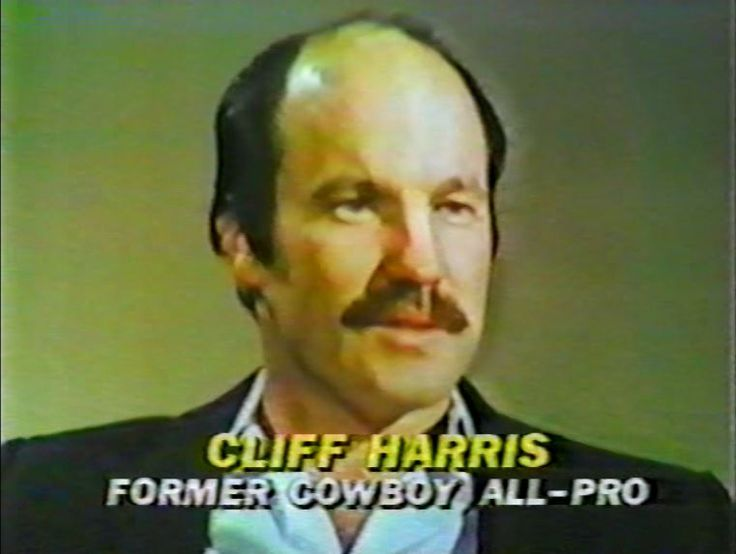 "Former Cowboy CLIFF HARRIS (1970-79) ""Captain Crash"" interviewed on ""The NFL Today"" Thanksgiving edition--November 26, 1981"