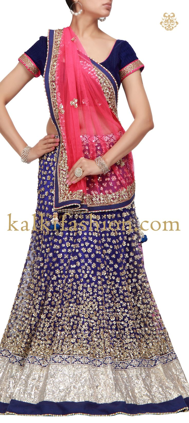 Buy it now http://www.kalkifashion.com/blue-lehenga-embroidered-in-gold-sequence-work-hand-made.html Blue lehenga embroidered in gold sequence work-Hand Made