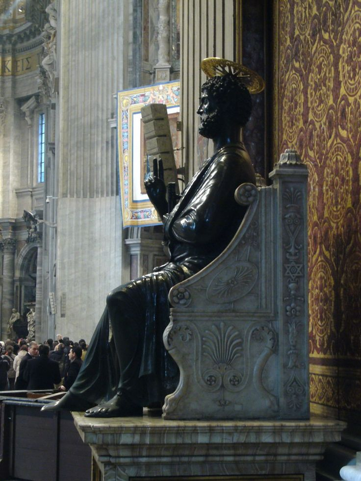 "The Statue of St. Peter, inside St. Peter`s Basilica - Tradition has St. Peter crucified ""juxta obeliscum"" - next to the obelisk, which was in the center of the circus. It is likely, then, that this obelisk is the last thing that St. Peter saw - and is thus truly a ""relic by contact"" of the saint. Indeed, it must have been the silent witness to countless Christian martyrs through the years. http://stpetersbasilica.info/Docs/seminarians.htm"