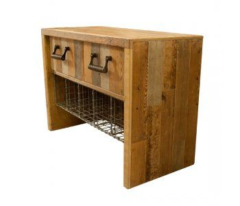 Reclaimed Timber Drawers with Mesh Storage