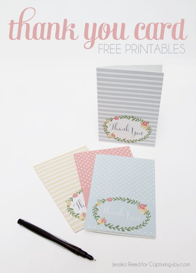 Super cute Thank You Cards in Capturing-Joy.com!  Say thank you with these free printables.