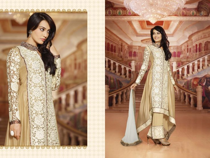 Swank Georgette Anarkali With Net & Plazo Pant's + Embroidery 376. INR 4300/-