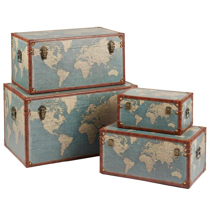 Vintage Storage Trunks Patterned World Map  http://kingdeful.com/vintage-storage-trunks-patterned-world-map.html
